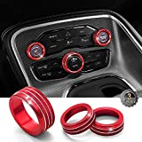 Challenger Air Conditioner Switch CD Button Knob Fit for Dodge Challenger 2015-2019 (Aluminum Alloy Red)