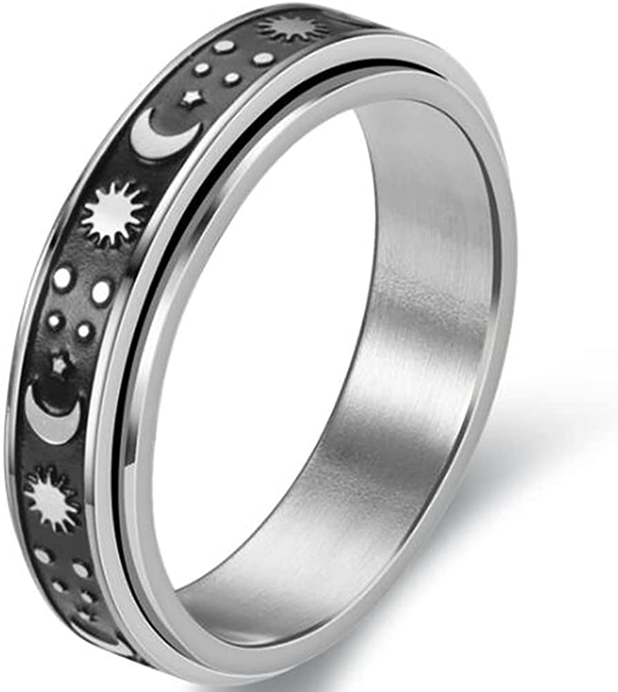 6mm Stainless Steel Sun Moon Star Rotating Spinning Wedding Promise Anniversary Statement Band Ring