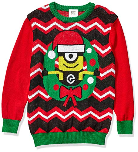 Despicable Me Boys' Ugly Christmas Sweater, Minion/Red, Small (6/7)