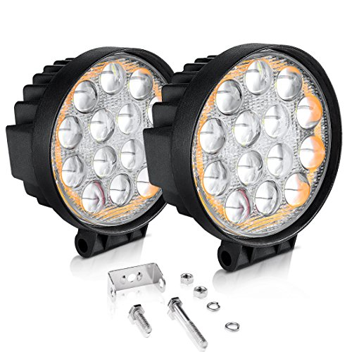 "AUTOSAVER88 5D LED Pods Light Bar, Round 4"" 60W 6000LM Spot Off Road Super Bright Waterproof 4X4 Driving Running Lights with Amber Fog Lights Circle"