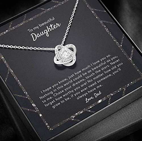 Personalized Jewelry Gift - Forever Love Necklace, Daughter Gift From Dad, To My Daughter Necklace, Cute Daughter Jewelry, Love Knot Necklace, Meaningful Jewelry, Personalized Jewelry Gifts For Women