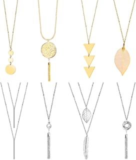 ONESING 8 Pcs Long Pendant Necklace Set Sweater Necklace Y Layer Simple Bar Necklace for Women
