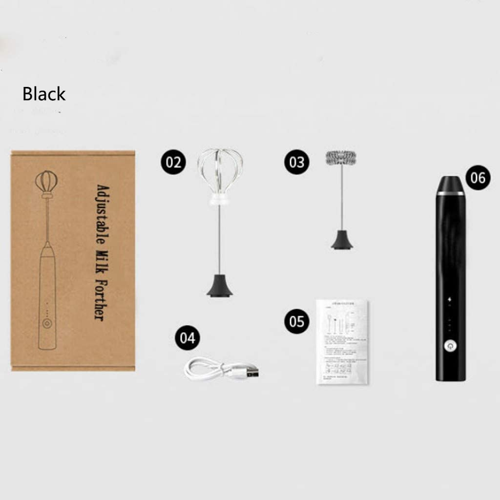 Espumador de Leche,Batidora de mano,Electrico Barista Espumado,Carga USB,Acero Inoxidable,Para caf/é BK caf/é con Leche Latte y Cappuccino Con USB,Batidor de Capa Doble//Simple
