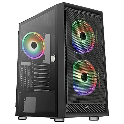 Aerocool GRAPHITEV3, Caja PC ATX, Cristal Templado, 3xVentiladores ARGB 14cm, Negro
