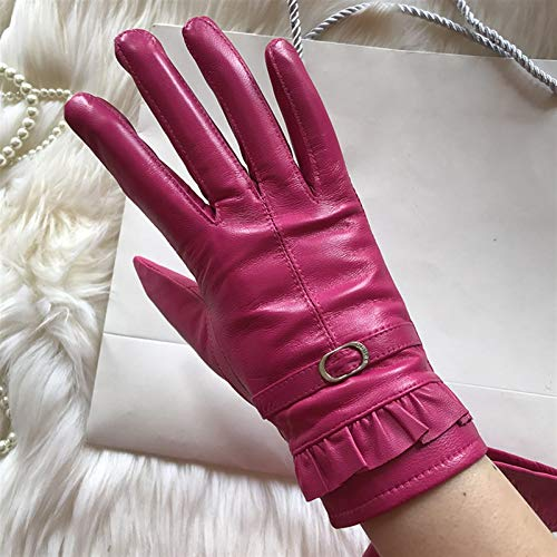 Guantes Elegantes Guantes De Cuero Genuino De Invierno Más Terciopelo De Moda Femenino De Moda Femenino 27 Colores Pareja de Guantes cálidos (Color : Velvet Lining, Gloves Size : Customize)