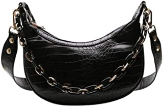 Pu shoulder bag, cross-body magnetic buckle PU leather, large-capacity handbag, must-have women's bag, chain handle, black, mobile phone can be installed (Color : Black, Size : One size)