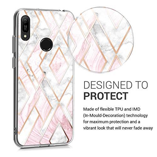 kwmobile Hülle kompatibel mit Huawei Y6 (2019) - Handyhülle - Handy Case Glory Mix Marmor Rosegold Weiß Altrosa