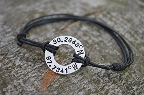 Coordinate Bracelet, Washer Bracelet, Latitude Longitude Bracelet, Location Bracelet, GPS, Anniversary gifts for men, Long Distance Gift, 10th Year Anniversary