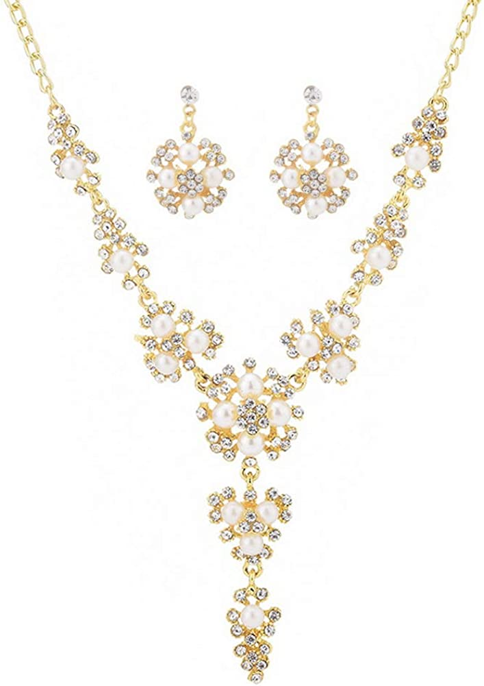 YAZILIND Luxury Bride Jewellery Set Imitation Pearl Rhinestone Short Clavicle Necklace Earrings Dress Accessories Women Party Gift