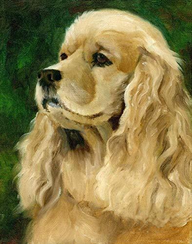 dxycfa Pintura de animales para perros y mascotas de Cocker Spaniel inglés por números para adultos DIY pintura al óleo por kits de números 16x20 (sin marco)