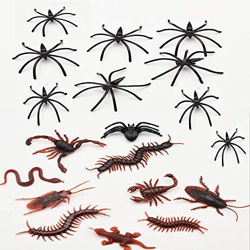 Kungfu Mall - Set di 100 ragni in plastica nera per Halloween, 18 pezzi di scarafaggi falsi, serpenti, geco, sccorpioni, centepiedi