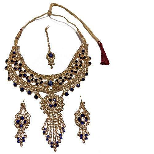 Conjunto Bollywood Nargis azul dorado con brazaletes y bindis joyas set accesorio