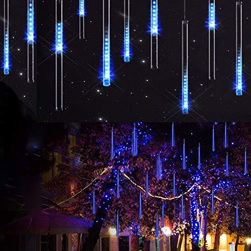 AveyLum LED Meteor Shower Rain Lights 30cm 8 Tubes Falling Rain Drop Christmas Lights Cascading Icicle String Light for Holiday Party Wedding Christmas Tree Decoration, Blue