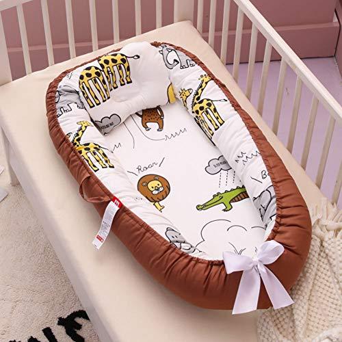 Nido de bebé, cuna para bebé recién nacido, 100% algodón, transpirable, suave y portátil, para dormitorio o viaje Jirafa de café