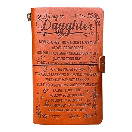 To My Daughter Leather Journal from Mom-BELIEVE IN YOURSELF- Travel Journal Diary Sketch Book Gift for Girls