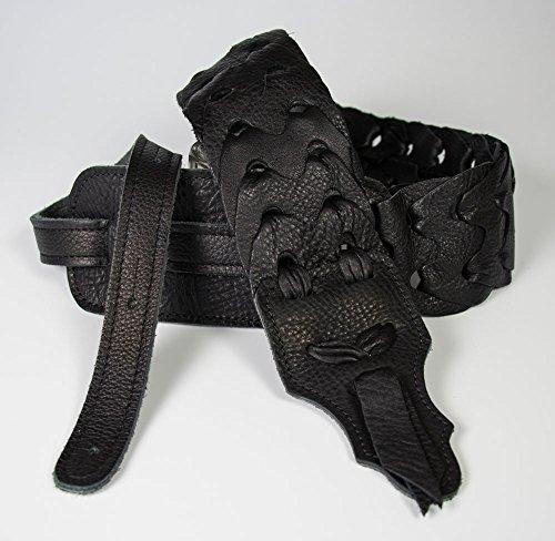 Franklin Strap Hand Linked Glove Leather Guitar Strap (3'', Black)