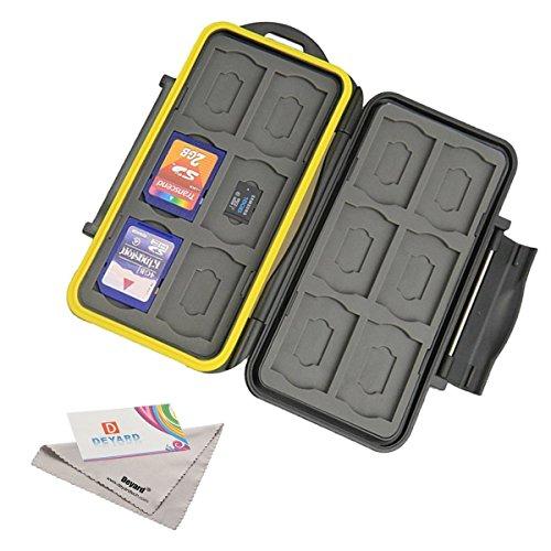 Deyard K020Speicherkartenetui, wasserbeständig, stoßfest, 24Plätze für 12SDHC- / SDXC-Karten und 12Mikro-SD-Karten; verbesserte Gummidichtung