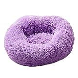 Pethomely Rundes Hundebett Waschbar Lange Plüsch Zwinger Katzenhaus Super Weiche Baumwollmatten Sofakorb Haustier Warm Schlafsofa Violett 70cm