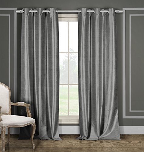 BLACKOUT365 100% Blackout Faux Silk Foamback Room Darkening Grommet Top Window Curtains Pair Panel Drapes - Set of 2 Panels - 38 by 84 inch - Grey