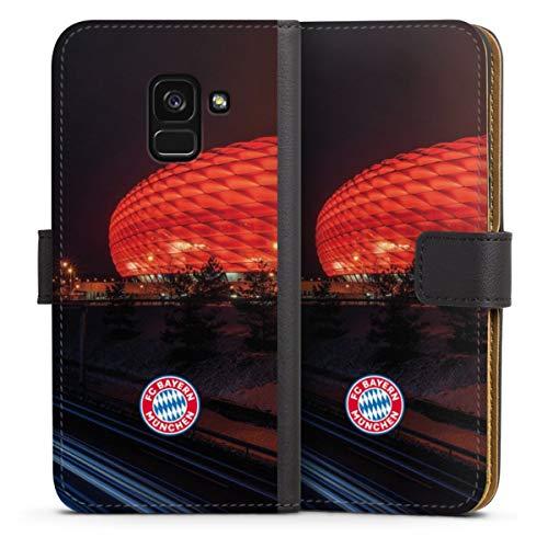 DeinDesign Klapphülle kompatibel mit Samsung Galaxy A8 Duos 2018 Handyhülle aus Leder schwarz Flip Hülle FC Bayern München FCB Stadion