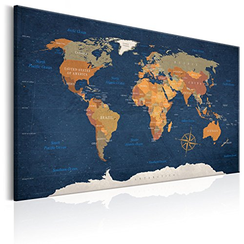 murando Weltkarte Pinnwand & Vlies Leinwand Bild 90x60 cm Bilder mit Kork Rückwand 1 Teilig Kunstdruck Korktafel Korkwand Memoboard Pinboard Wandbilder Karte Landkarte k-C-0048-p-b