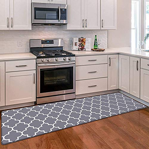 "WiseLife Kitchen Mat Cushioned Anti-Fatigue Kitchen Rug, 17.3""x 59"" Waterproof Non-Slip Kitchen Mats and Rugs Heavy Duty PVC Ergonomic Comfort Mat for Kitchen, Floor Home, Office, Sink, Laundry, Grey"