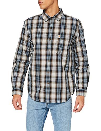 Carhartt Herren Long-Sleeve Essential Open Collar Kariertes Hemd, Steel Blue, XL