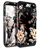 Casetego Compatible Galaxy S8 Case,Floral Three Layer Heavy Duty Hybrid Sturdy Armor Shockproof Full Body Protective Cover Case for Samsung Galaxy S8,Orange Flower/Black