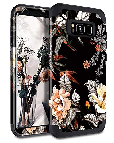 Casetego Compatible with Galaxy S8 Plus Case,Floral Three Layer Heavy Duty Hybrid Sturdy Shockproof Full Body Protective Cover Case for Samsung Galaxy S8 Plus,Orange Flower/Black