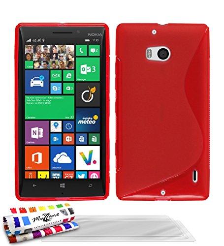 MUZZANO Original S-Cover Flessibile, per Nokia Lumia 930, con 3 pellicole di Protezione per Lo Schermo, Ultra Trasparenti, Colore: Rosso