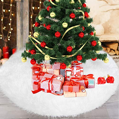 Bluelves Weihnachtsbaum, Weihnachtsbaum Rock, Weihnachtsbaum Decken Weiße Plüsch, Weihnachtsbaumdecke Rund, Christbaumdecke, Weihnachtsbaum Deko, 90 cm