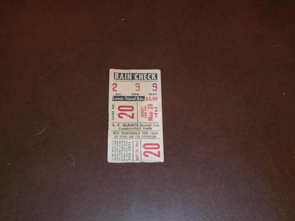 1967 DODGERS AT GIANTS BASEBALL Factory outlet WIN PERRY GAYLORD Outstanding STUB TICKET