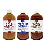 Lillie's Q - Barbeque Sauce Variety Pack, Gourmet BBQ Sauce Set, Made with Gluten-Free Ingredients, Includes Carolina BBQ Sauce (20 oz), Gold BBQ Sauce (20 oz) & Smoky BBQ Sauce (21 oz) | 3-Pack