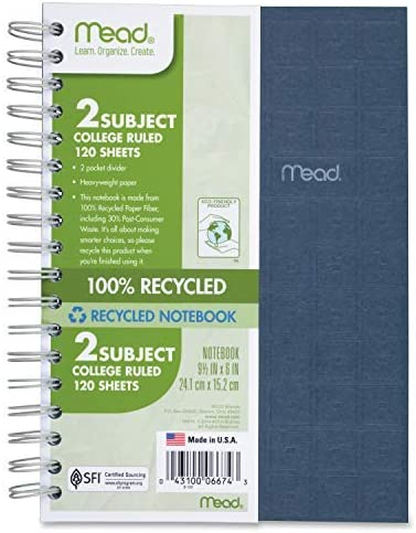 Mead Spiral Notebook 2 Subject College Ruled Sales for sale Free Shipping Cheap Bargain Gift Sheets 120 Paper
