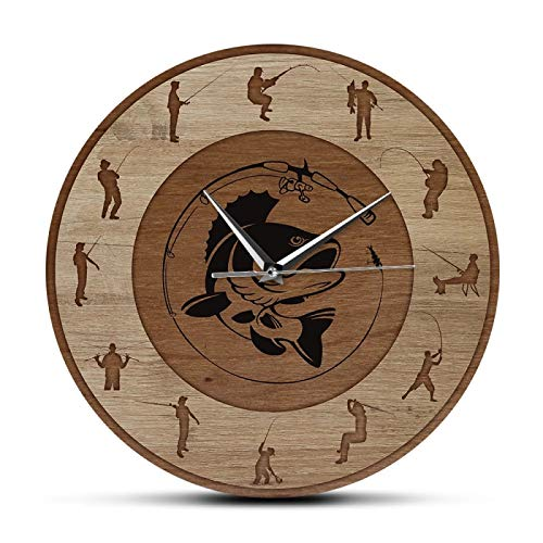 gongyu Bass Art Fish Silent Sweep Reloj de Pared de Pesca Lodge Cabin Man Cave Art Decor Reloj de Pared de Pescador Regalos de Pesca para él