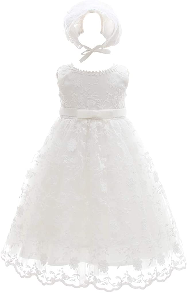 Baby Girls Floral Embroidered Overlay Sleeveless Christening Baptism Tulle Dress