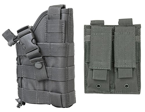 M1SURPLUS Wolf Grey MOLLE Compatible Holster with Free 2 Pocket Magazine Carrier Pouch/The Holster Fits SIG S&W SW1911 Kimber Remington R1 Ruger SR1911 Rock Island Colt .45 1911 Full Size Pistols