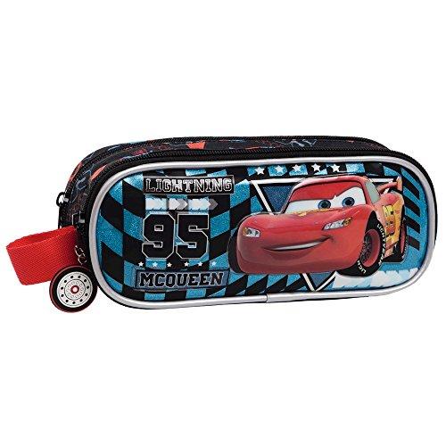 Disney Cars Glitter Beauty Case da Viaggio, Poliestere, Blu, 23 cm