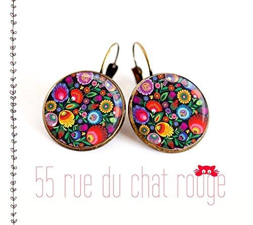 Ohrringe Cabochon farbige Blumen Russisch mexikanisch floral Russisch Folklore Blume Russisch Puppe matryoshka