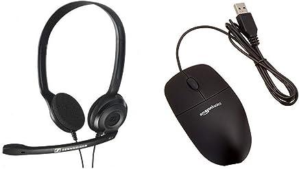 Sennheiser HEADSET PC 3 CHAT - Cuffia professionale con Microfono per Pc o Laptop, Doppio Jack (1 x Audio, 1 x Mic), Nero & AmazonBasics Mouse USB, 3 pulsanti - Trova i prezzi più bassi
