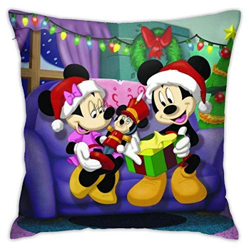 AOOEDM Christmas Anime Mouse y Minnie Throw Pillow Fundas de Almohada de algodón Decorativas para la Sala de Estar Sofá Sofá Cama Fundas de Almohada Suaves 18 x 18 Pulgadas 45 x 45 cm
