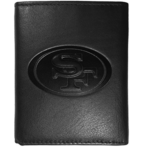 NFL Siskiyou Sports Mens San Francisco 49ers Embossed Leather Tri-fold Wallet One Size Black