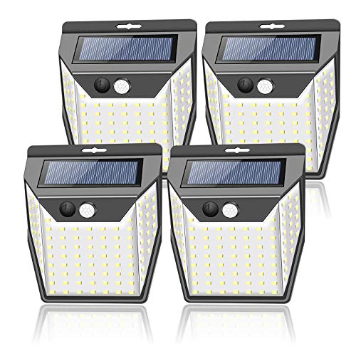 ZEEFO Solar Lights Outdoor Garden,99LEDs Solar Security Lights with Motion Sensor,3 Working Models,2000 mAh Waterproof Solar Powered Fence Lights Wall Lights Solar Lamps for Outside(4 Pack)