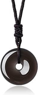 AmorWing Circle Donut Pendant Semi Precious Stone Necklace