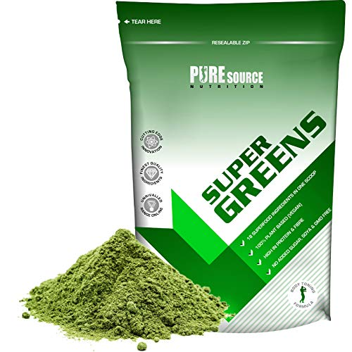Pure Source Nutrition Vegan Super Green Powder 500g Greens Superfood Detox Powder, Great for Smoothies, Juice & Drinks, Vitamin & Mineral Complex, Natural Energy Boost, Health Drink