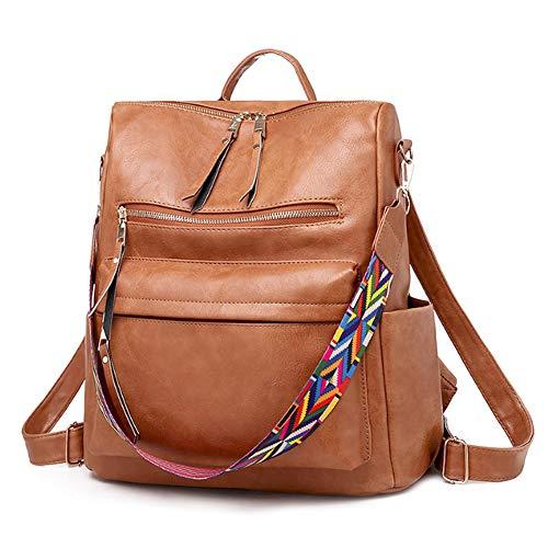 BAGZY Klein Rucksack Damen Daypacks Reisen Tasche Leder Rucksäcke Wasserdicht Umhängetasche Anti-Theft Schulrucksack Für Lässig Schule Travel Arbeit Braun