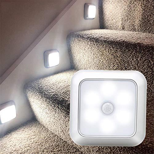 ZHaoZC - Luz con sensor de movimiento, 6 luces LED de noche con almohadillas adhesivas 3M, funciona con pilas, sensor de luz nocturna para escaleras, pasillo, armario, armario