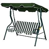 Outsunny Hollywoodschaukel, 3-Sitzer Gartenschaukel, Schaukelbank, Verstellbares Sonnendach, Metallrahmen, Grün 170 x 110 x 153 cm