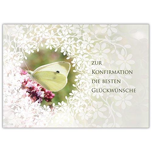 Traumhafte Glückwunsch Karte mit Schmetterling und Blüten