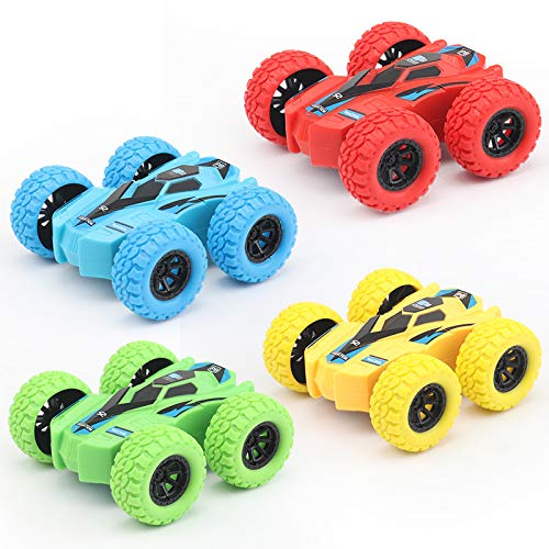Pull Back car, 4-Piece Toy Truck, Double-Sided Friction Power car, flip and Anti-Vibration inertial car, Push Away car, The Best Party Gift for Boys and Girls Aged 3 to 10